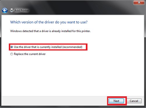 Add Printer Which version of your drive do you want to use? Windows has detected that it is a preloaded driver for this printer. We mark the Use the loaded driver (recommended) option. We click on the Forward button.